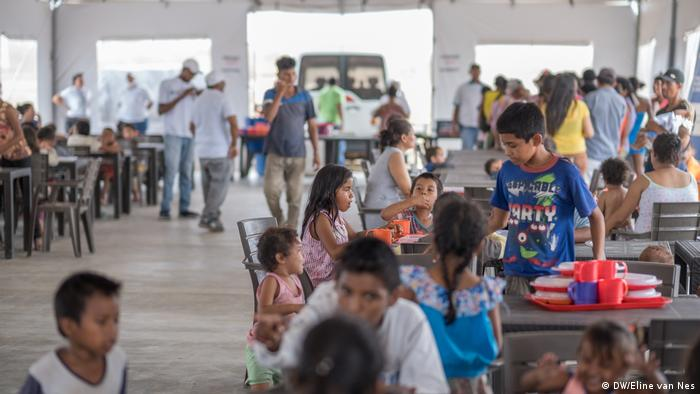 Venezuelan refugees at recently inaugurated reception center in Maicao, Colombia