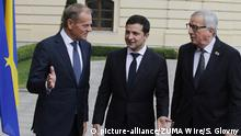 08.07.2019 July 8, 2019 - Kiev, Ukraine - Ukrainian President VOLODYMYR ZELENSKIY (C), European Union Council president DONALD TUSK (L) and European commission president JEAN-CLAUDE JUNCKER (R) attend a EU-Ukraine summit to discuss trade, economic reforms, and relations with Russia in Kiev, Ukraine, on 8 July 2018. (Credit Image: © Serg Glovny/ZUMA Wire |