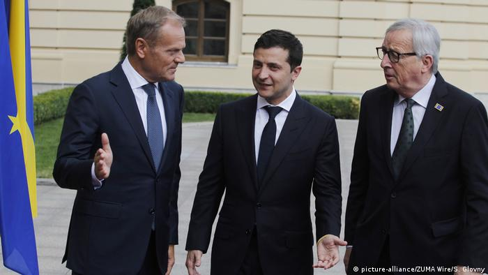 EU-Ratspräsident Donald Tusk, Wolodymyr Selenskyj und EU-Kommissionschef Jean-Claude Juncker (v. l.)