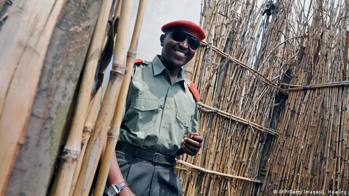 Bosco Ntaganda smiles as he arrives at his mountain base on January 11, 2009