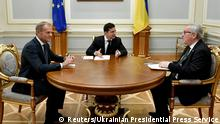 Ukraine's President Volodymyr Zelenskiy meets with European Council President Donald Tusk and European Commission President Jean-Claude Juncker in Kiev, Ukraine, July 8, 2019. Ukrainian Presidential Press Service/Handout via REUTERS ATTENTION EDITORS - THIS IMAGE WAS PROVIDED BY A THIRD PARTY.