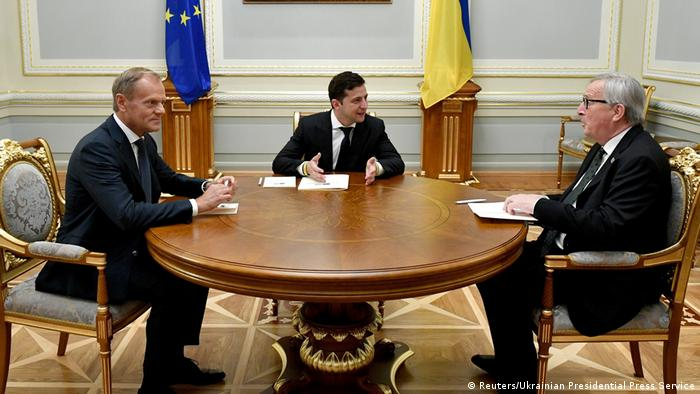 Ukrainian President Volodymyr Zelenskiy, European Council President Donald Tusk and European Commission President Jean-Claude Juncker in Kyiv