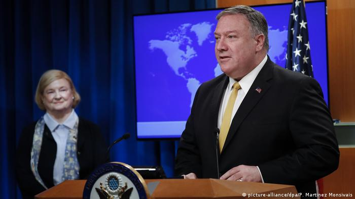 US Secretary of State Mike Pompeo and Mary Ann Glendon at the State Department in Washington