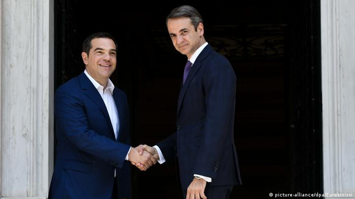 Parlamentswahl in Griechenland 2019 Kyriakos Mitsotakis und Alexis Tsipras (picture-alliance/dpa/Eurokinissi)