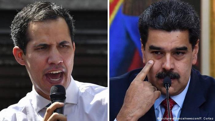 Juan Guaidó (izqda.), presidente en disputa de la Asamblea Nacional de Venezuela, parcialmente reconocido como presidente interino de Venezuela, y Nicolás Maduro, presidente de ese país.