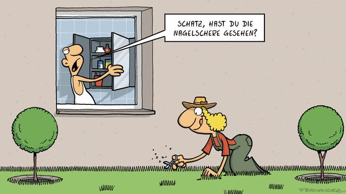 DW Euromaxx Comics von Fernandez Verstehen Sie Deutsch? Rasenpflege DEUTSCH