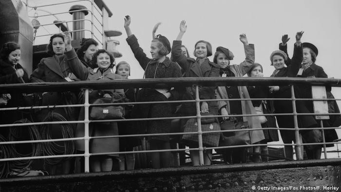 Some of the 5,000 Jewish and non-Aryan German child refugees, the 'Kindertransport', arriving in England at Harwich from Germany.