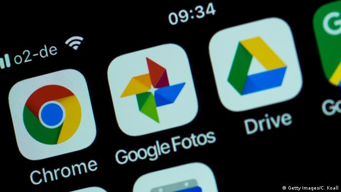 A smartphone with Google apps