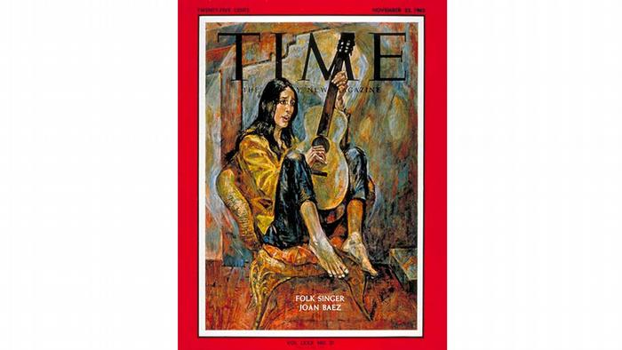 Time Magazine cover: Joan Baez playing the guitar
