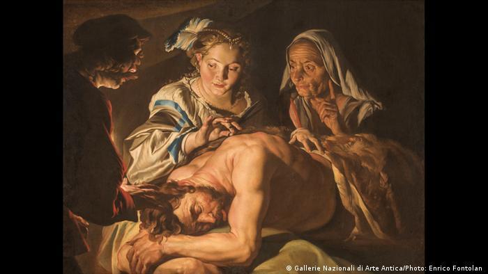 Ausstellung Wege des Barock; Gemälde Samson und Delila von Matthias Stomer. (Gallerie Nazionali di Arte Antica/Photo: Enrico Fontolan )