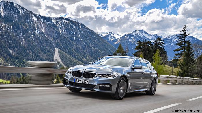 A BMW in the mountains of Europe