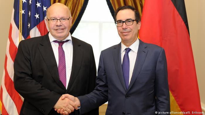 USA Washington | Finanzminister Peter Altmaier & Steven Mnuchin (picture-alliance/dpa/S. Eriksson)