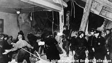 Ruins after the assassination attempt on Hitler by 42-year-old Johann Georg Elser. The time bomb explosion at the site of the 1923 Beer Hall Putsch, killed 8 people and 67 injured. Hitler had left earlier than scheduled and missed the explosion. Nov 8, 1939. World War 2. (BSLOC_2014_8_169)   Keine Weitergabe an Wiederverkäufer.