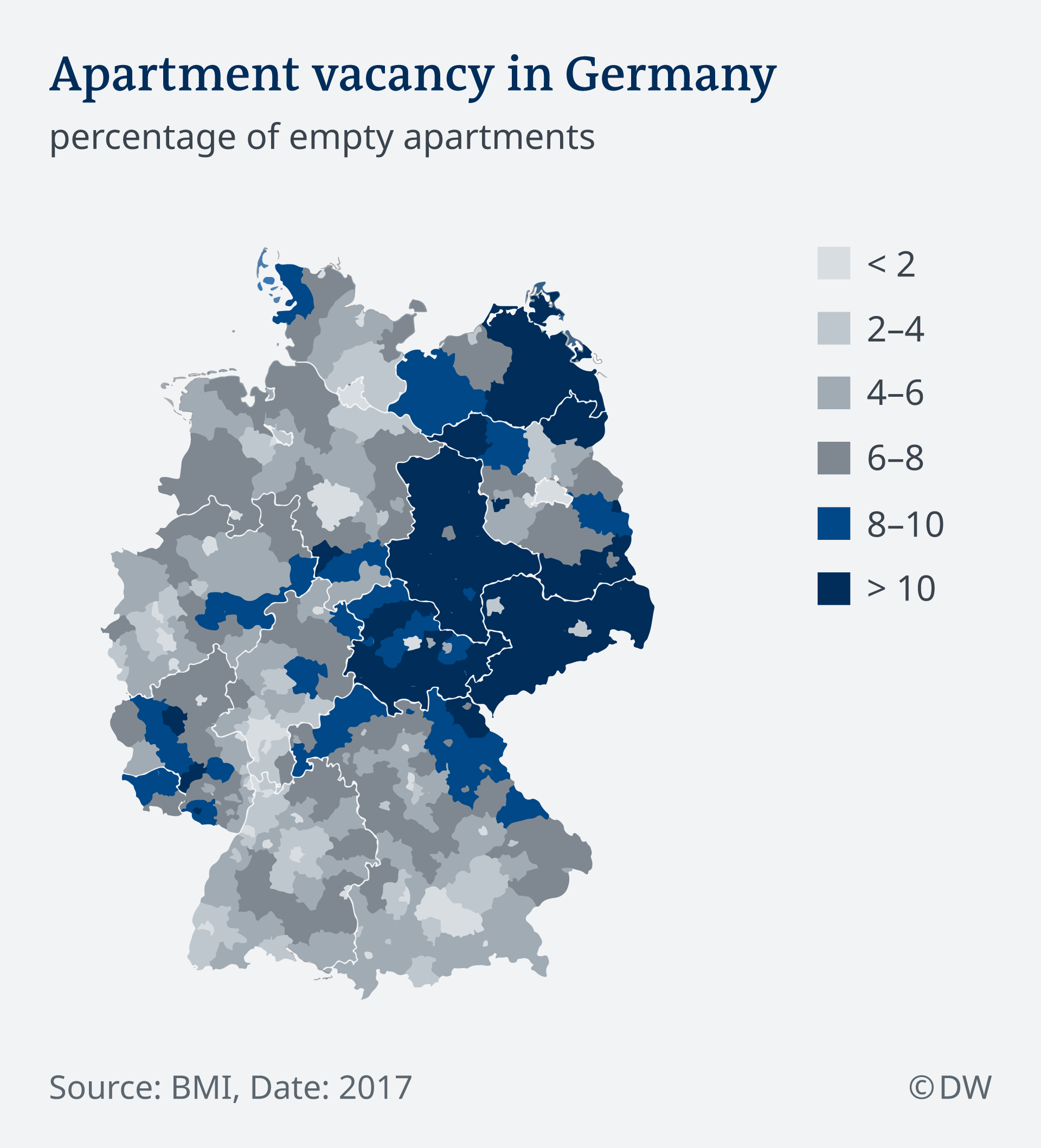 A graphic shows the percentage of empty apartments around Germany