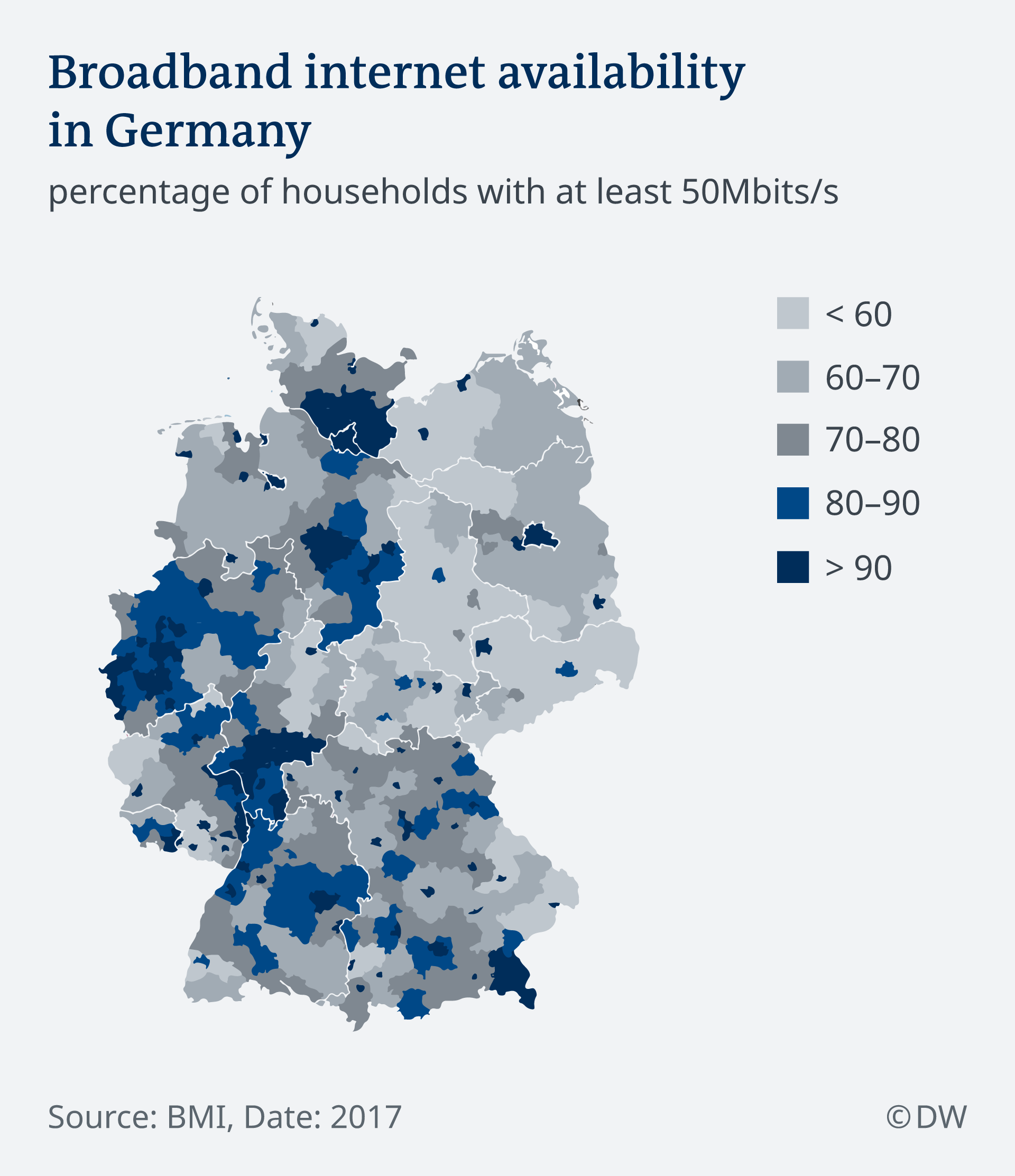 Map showing broadband internet availability in Germany