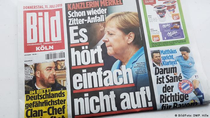 A shot of the front of Bild with a photo of Merkel and the headline: It just doesn't stop (Bild/Foto: DW/P. Hille)