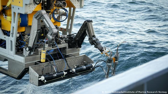 The ROV Ægir 6000 research vessel prepares to go underwater and find the wreckage of the Komsomolets