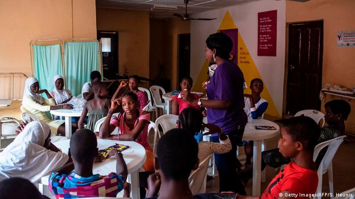Teenagers learn about puberty at the Bada Primary Health Centre in Lagos.
