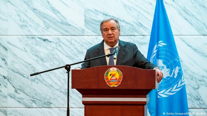 United Nations Secretary General Antonio Guterres speaks during a press conference at the President of Mozambique's Office on July 11, 2019 in Maputo.