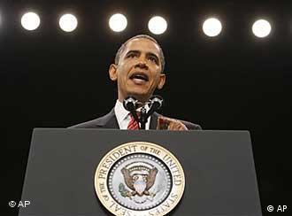 باراک اوباما در حال سخنرانی برای توضیح استراتژی جدید آمریکا در افغانستان