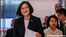 Taiwan President Tsai Ing-wen arrives at Taipei Economic and Cultural Office in New York during her visit to the U.S., in New York City, U.S., July 11, 2019. REUTERS/Jeenah Moon