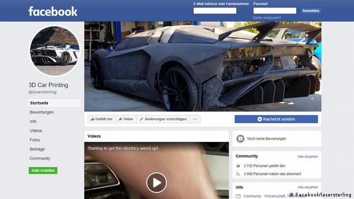 Screenshot Facebook 3D Car Printing (Facebook/lasersterling)