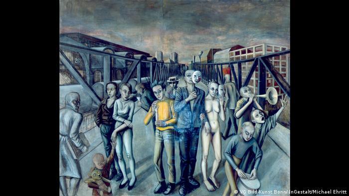 Ein Bild von Doris Ziegler aus der Ausstellung Point of No Return zeigt Menschen auf einer Brücke, die Masken vom Gesicht nehmen. (VG Bild-Kunst Bonn/ InGestalt/Michael Ehritt)