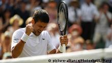 Novak Djokovic after his match with Roberto Bautista-Agut (picture-alliance/Photoshot/L. Yang)