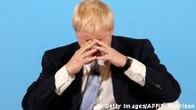 TOPSHOT - Conservative MP and leadership contender Boris Johnson takes part in a Conservative Party Hustings event in Belfast, Northern Ireland, on July 2, 2019. - Britain's leadership contest is taking the two contenders on a month-long nationwide tour where they will each attempt to reach out to grassroots Conservatives in their bid to become prime minister. (Photo by Peter Morrison / POOL / AFP) (Photo credit should read PETER MORRISON/AFP/Getty Images)
