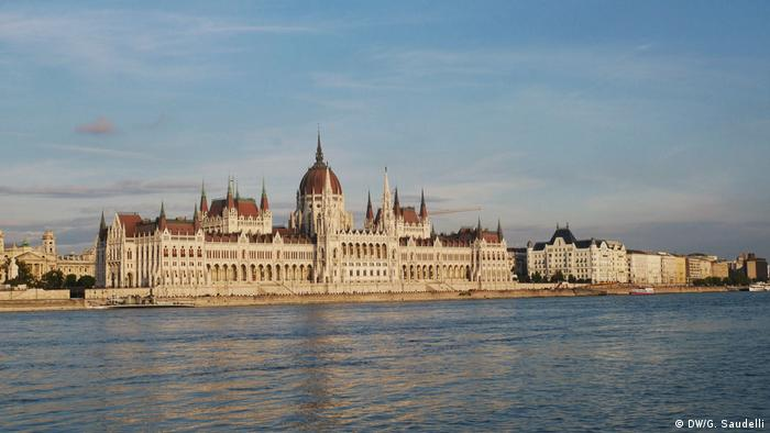 The Hungarian Parliament on the banks of the Danube River in Budapest, Hungary.