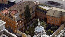 This picture taken on February 13, 2013 at the Vatican shows the Teutonic Cemetery in the courtyard of Collegio Teutonico, as seen from atop St. Peter's Basilica. - The Vatican is opening an internal probe into the case of Emanuela Orlandi, a teenager who disappeared in 1983 in one of Italy's darkest mysteries, and said it will open on July 11, 2019 two tombs within its grounds in the Teutonic Cemetery to see if it holds the girl's remains, after Orlandi's family's lawyer received an anonymous tip-off telling her to look inside the marble-topped grave. (Photo by ANDREAS SOLARO / AFP) (Photo credit should read ANDREAS SOLARO/AFP/Getty Images)