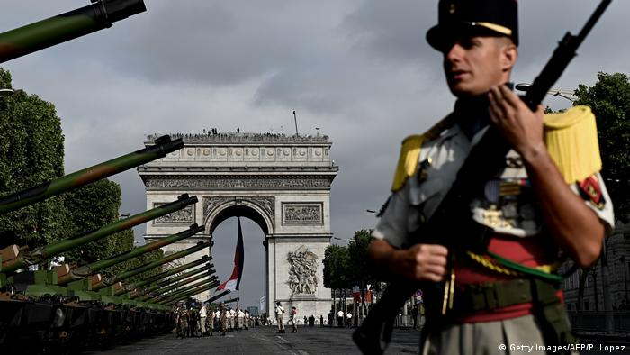 Troops and tanks in front of the Arc de Triomphe