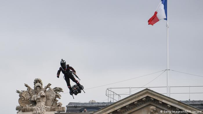 Franky Zapata on his Flyboard during the Bastille Day military parade