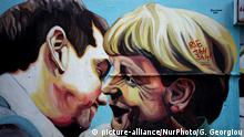 A graffiti by street artist Jupiterfab, depicting Greek prime minister Alexis Tsipras and German Chancellor Angela Merkel on March 30, 2015 in Athens. (Photo by Giorgos Georgiou/NurPhoto) | Keine Weitergabe an Wiederverkäufer.