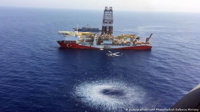 Helicopter flies over Turkish drilling ship Fatih
