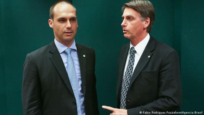 Eduardo Bolsonaro and Jair Bolsonaro stand side by side