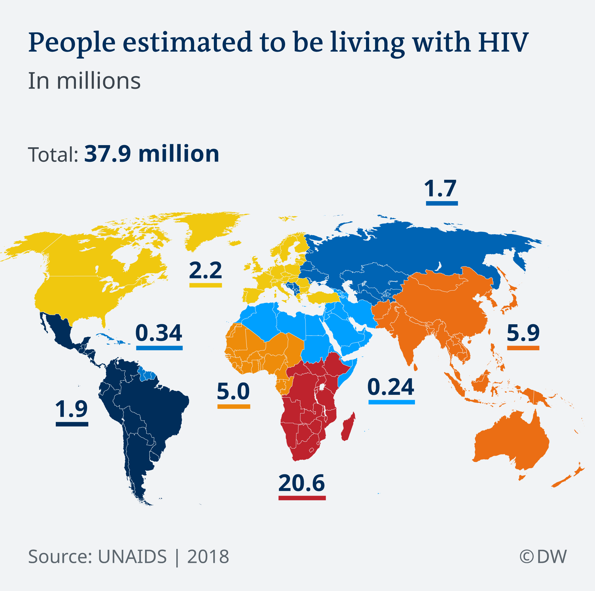 World map: People living worldwide with AIDS