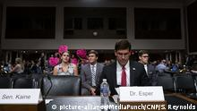 Code Pink protestors hold signs as Mark T. Esper arrives to his testimony before the U.S. Senate Armed Services Committee on Capitol Hill in Washington D.C., U.S. on July 16, 2019, as the committee considers his nomination to be United States Secretary of Defense. Credit: Stefani Reynolds / CNP /MediaPunch |