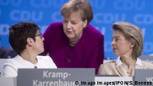 Merkel, Kramp-Karrenbauer, von der Leyen, CDU-Parteitag DEU, Deutschland, Germany, Berlin, 26.02.2018 Annegret Kramp-Karrenbauer, neu gewaehlte Generalsekretaerin der CDU und ehe. Ministerpraesidentin Saarland, Angela Merkel, Bundeskanzlerin und Bundesvorsitzende der CDU, und Ursula von der Leyen (v.l.n.r.), auf dem 30. Parteitag der CDU unter dem Motto Neue Dynamik fuer Deutschland Ein Neuer Zusammenhalt fuer unser Land in Berlin. Annegret Kramp-Karrenbauer, new elected general secretary of the CDU and former minister president of the Saarland, Angela Merkel, Chancellor and leader of the CDU, and Ursula von der Leyen (f.lt.r.), during a party congress in Berlin. The CDU is meeting to confirm the party s coalition contract with the German Social Democrats and to elect a new general secretary. The CDU is currently set to go into a governm