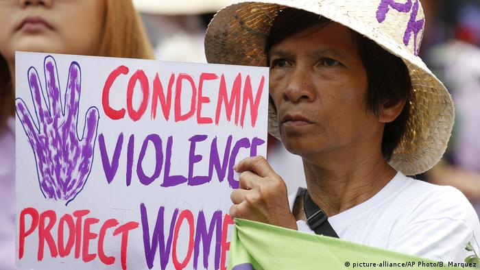 A Filipino woman at a women's day march