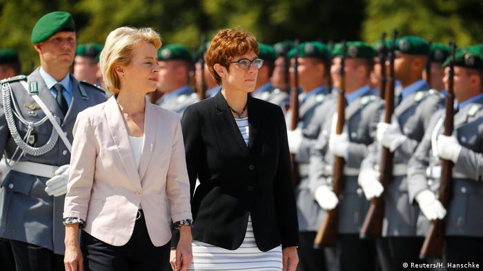 Annegret Kramp-Karrenbauer and Ursula von der Leyen at a ceremony in Berlin
