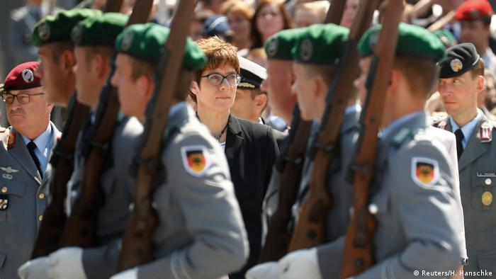 Annegret Kramp-Karrenbauer among soldiers