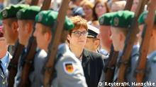 German Defense Minister Annegret Kramp-Karrenbauer attends a welcoming ceremony (Reuters/H. Hanschke)