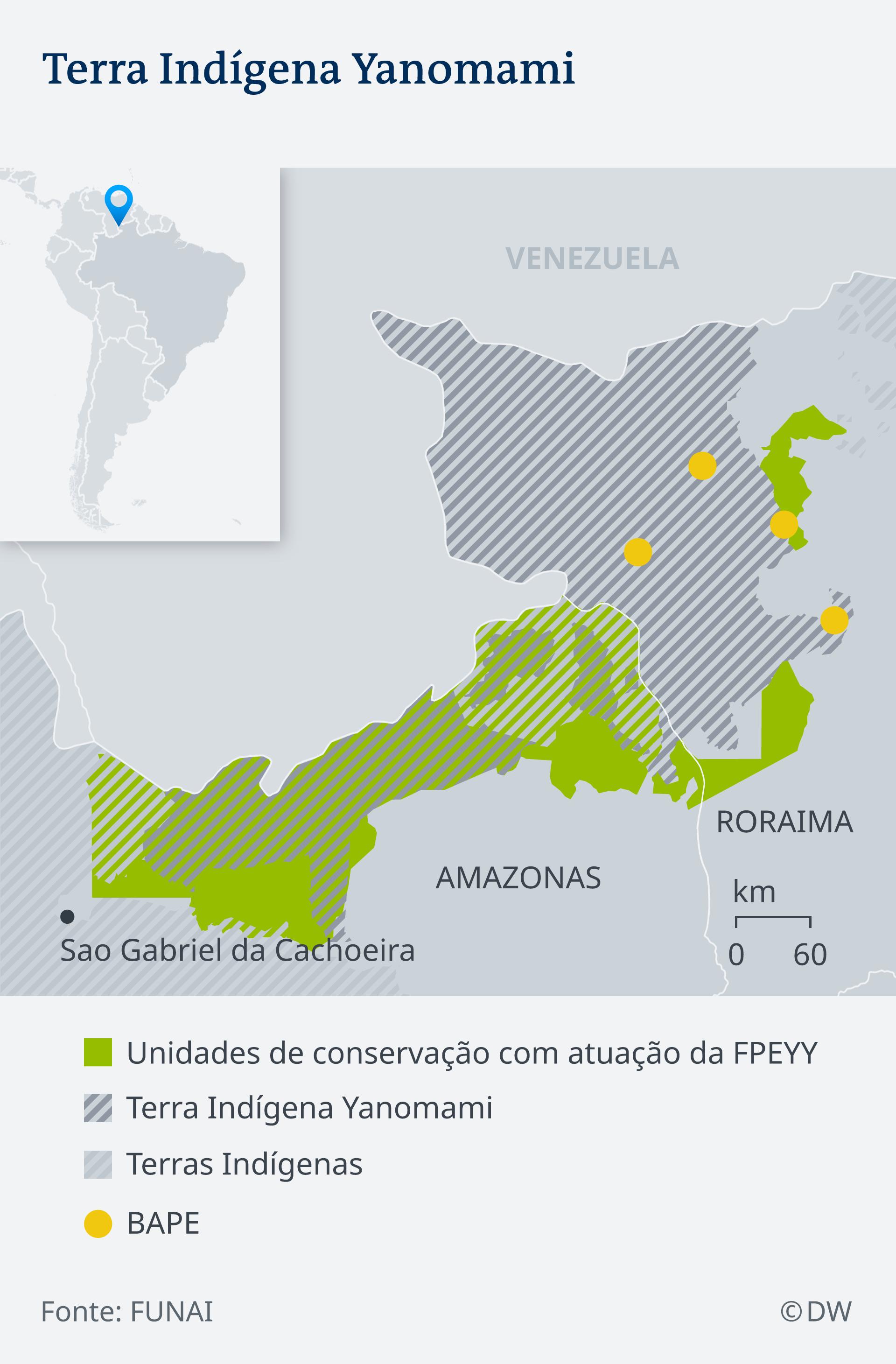 Infografik Karte Indigene Völker Brasiliens, Yanomami
