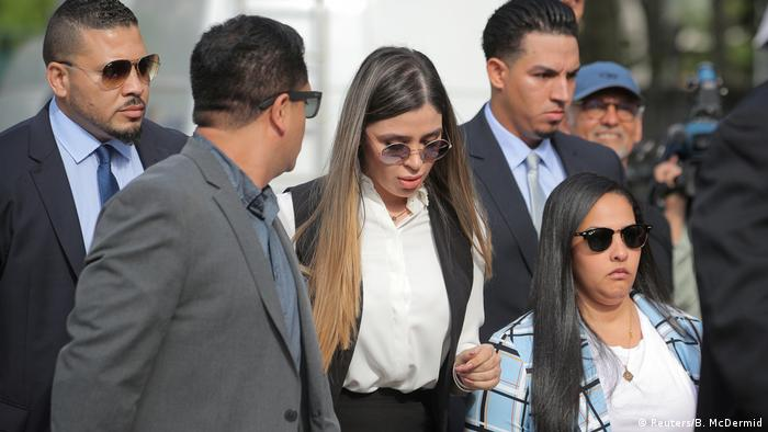 Emma Coronel Aispuro, the wife of Joaquin Guzman, arrives at a court in New York during her husband's 2019 trial