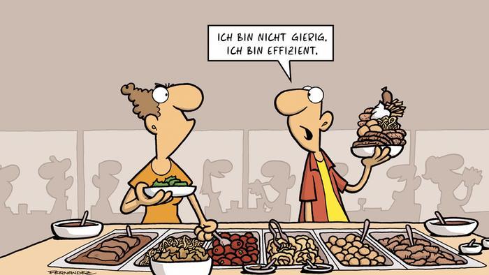 Cartoon von Fernandez | Verstehen Sie Deutsch? | Wenn Deutsche das Hotelbuffet plündern - wem kommt das bekannt vor?