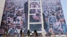 Wandgemälde Muro de la Memoria, zur Erinnerung an die Opfer des Bombenanschlags auf das jüdische Gemeindezentrum in Buenos Aires (18.07.1994). Das Gebäude der Asociación Mutual Israelita Argentina (AMIA) ist eine Zentrale der jüdischen Gemeinde in Argentinien. Buenos Aires, 2018.