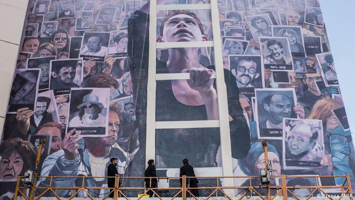 El Muro de la Memoria, en homenaje a los fallecidos en el atentado contra la AMIA en Buenos Aires, en 1994.