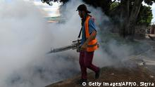 An employee of the Honduran Secretariat of Health takes part in a fumigation operation to combat Aedes aegypti, vector of the dengue fever, in Tegucigalpa on July 16, 2019. - Honduras is under national alert since July 2 for dengue fever, which left at least 51 dead this year according to authorities. (Photo by ORLANDO SIERRA / AFP) (Photo credit should read ORLANDO SIERRA/AFP/Getty Images)
