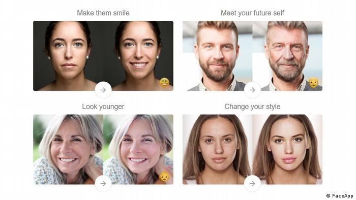 Funções do programa Faceapp: sorriso, envelhecimento, rejuvenescimento, cabeleireiro e maquiador
